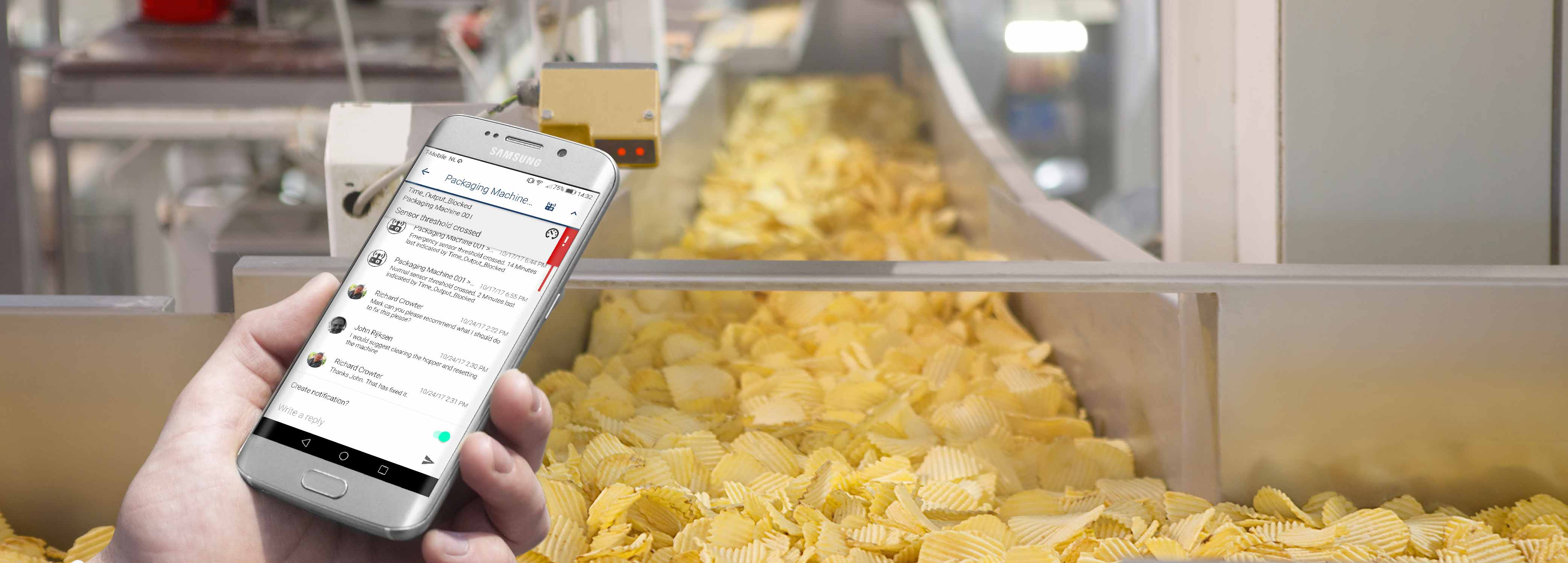 innius used on Android device to communicate with colleagues at a crisp packaging factory