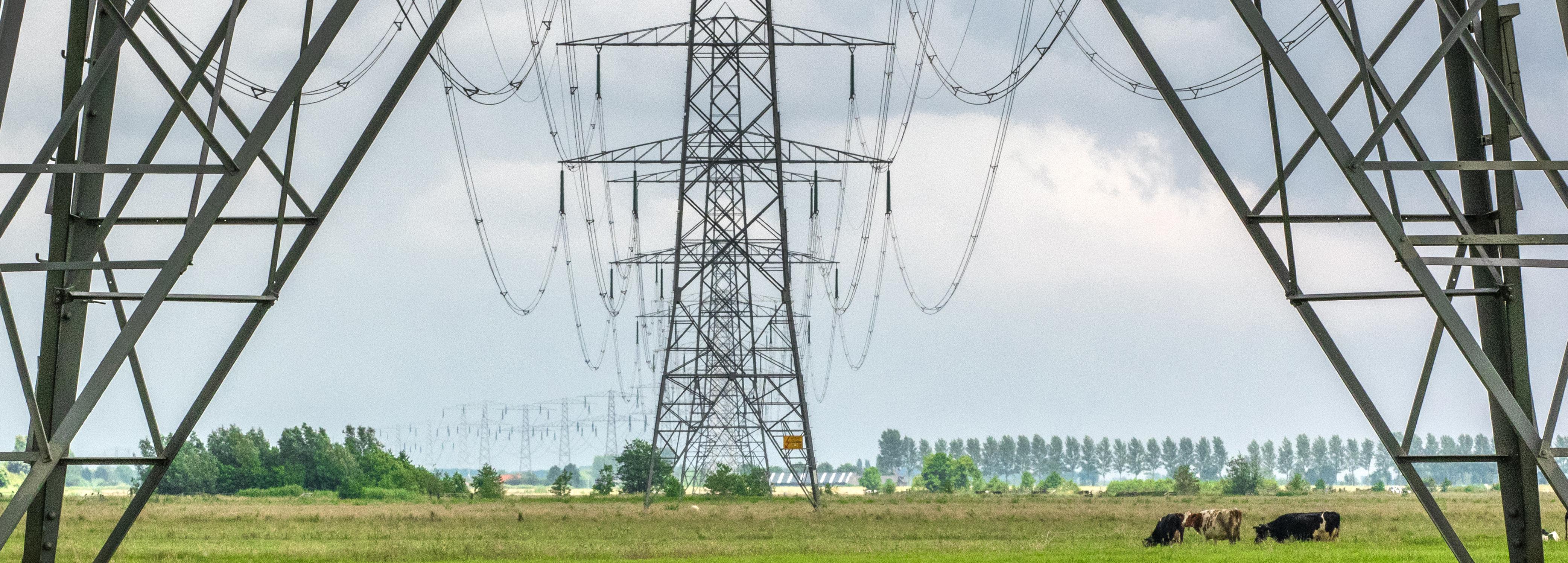Electric power lines above fields