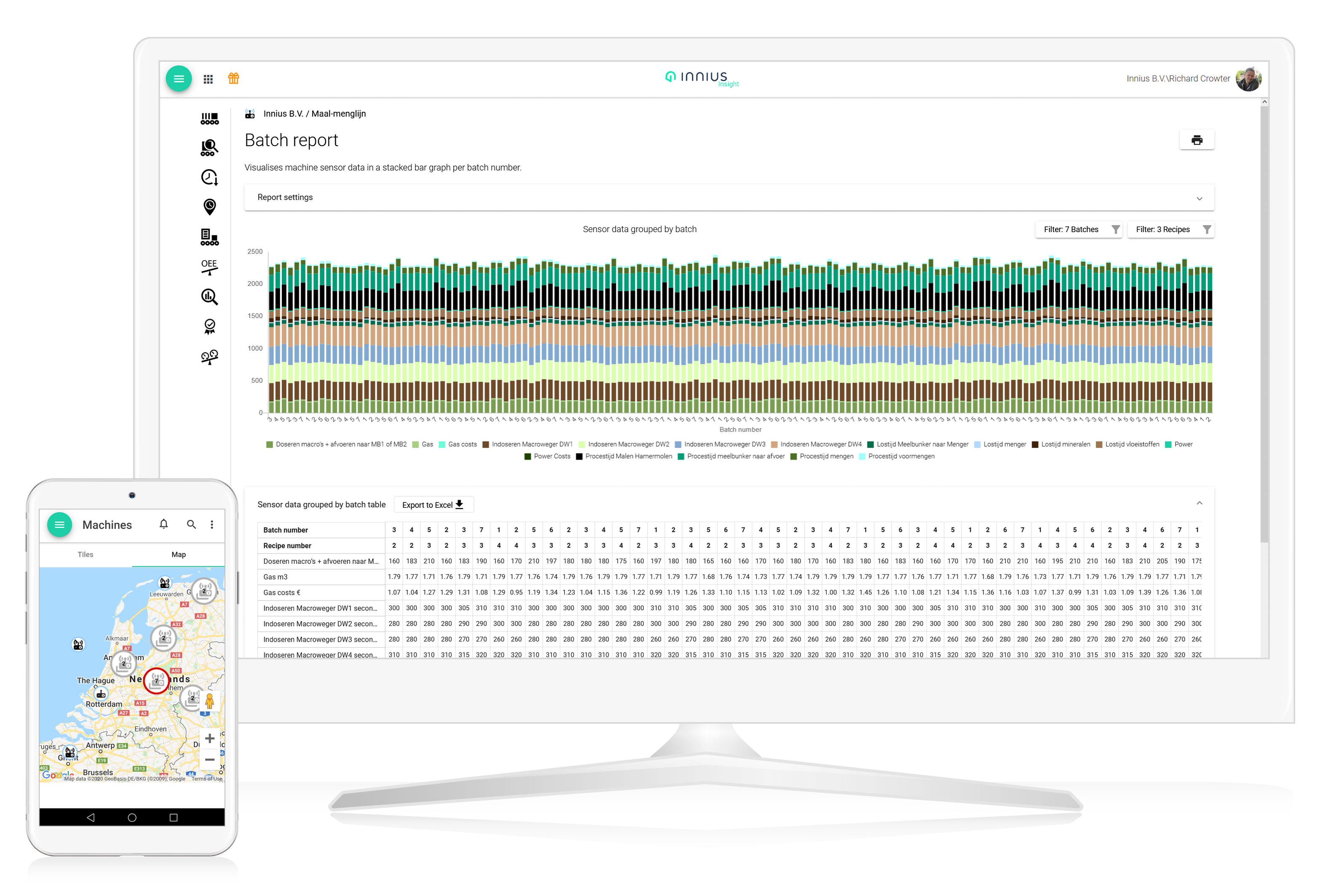 Innius Screens for Desktop and Mobile showing Batch Report and Locations