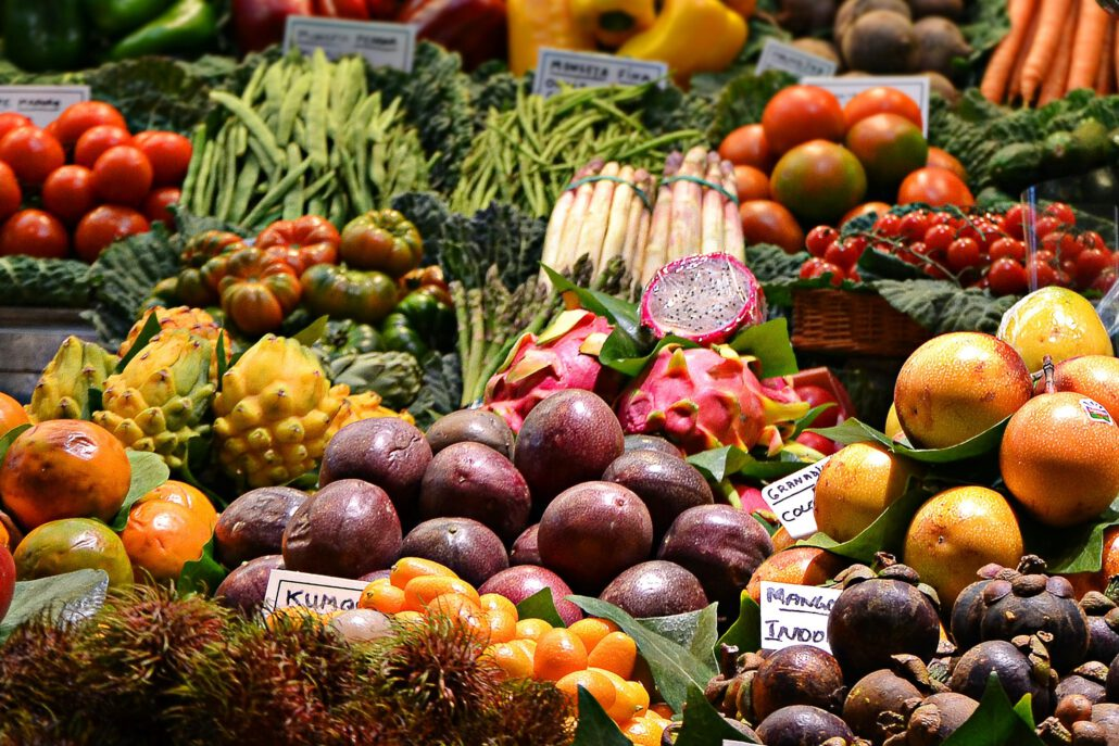 Fresh fruit and vegtables on a market stall