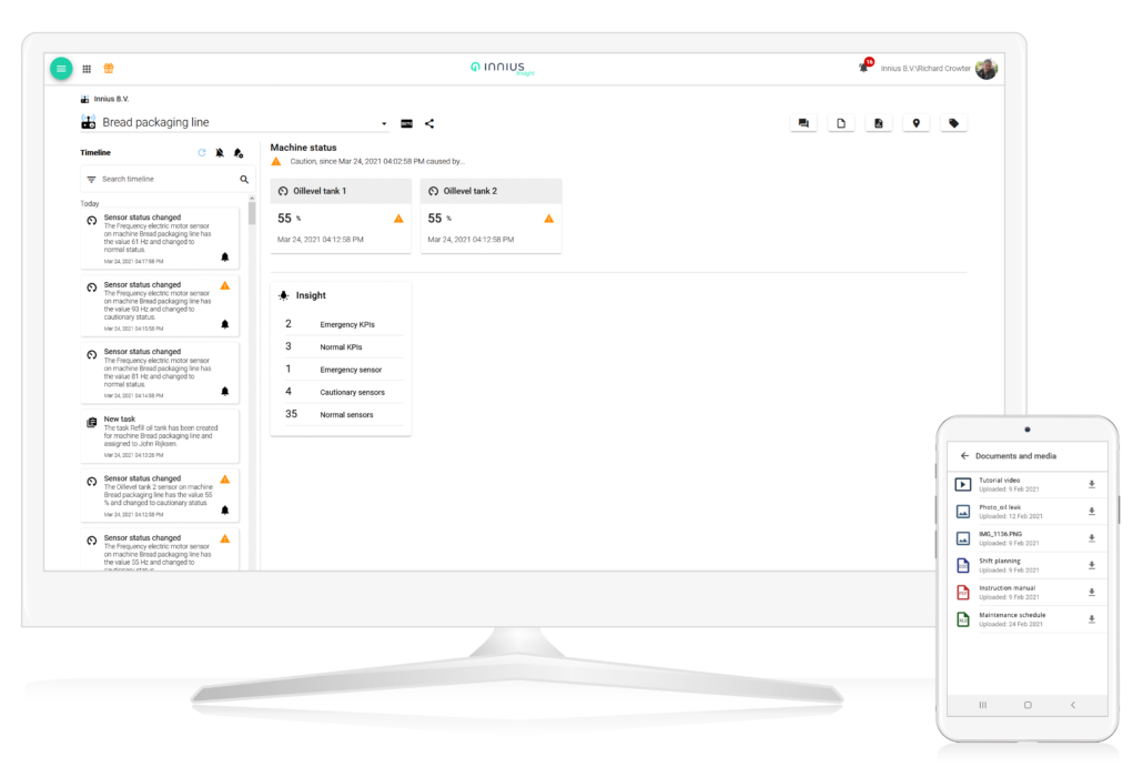 Innius Screens for Desktop and Mobile showing Machine Profile and Documents and Media